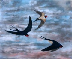 Image entitled Swallows at Sunset