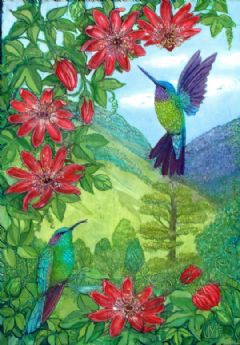 Image entitled Hummingbirds with Passiflora